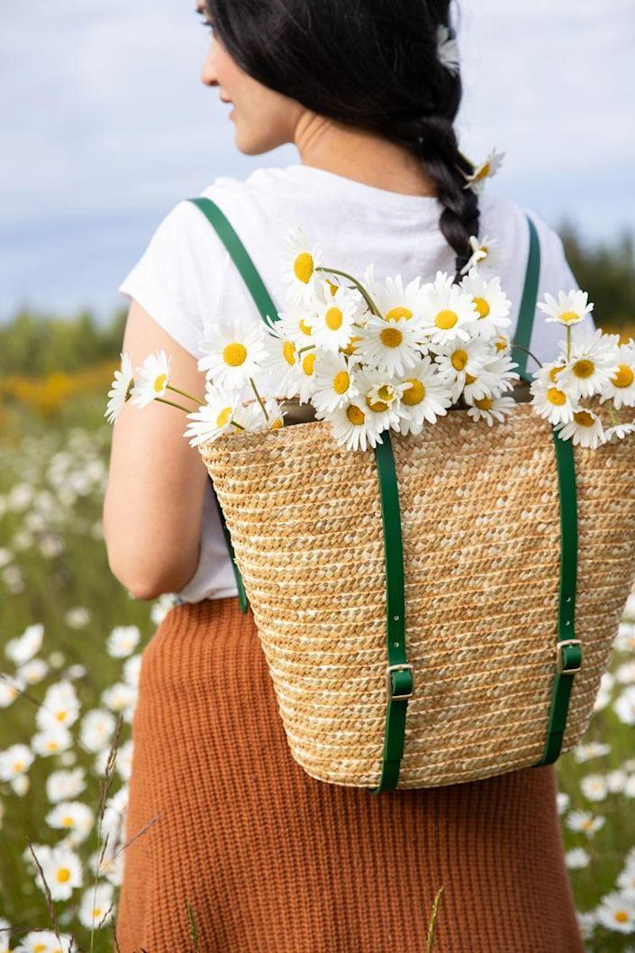 """<p>Is your mom always on-the-go? Add some style to her next adventure with this whimsical DIY basket-backpack.</p><p><strong>Get the tutorial at <a href=""""https://www.deliacreates.com/basket-backpack-tutorial-video/"""" rel=""""nofollow noopener"""" target=""""_blank"""" data-ylk=""""slk:Delia Creates"""" class=""""link rapid-noclick-resp"""">Delia Creates</a>.</strong></p><p><strong><a class=""""link rapid-noclick-resp"""" href=""""https://go.redirectingat.com?id=74968X1596630&url=https%3A%2F%2Fwww.walmart.com%2Fip%2FMainstays-Natural-Seagrass-Paper-Rope-Baskets-Set-of-2%2F354101765&sref=https%3A%2F%2Fwww.thepioneerwoman.com%2Fholidays-celebrations%2Fgifts%2Fg32307619%2Fdiy-gifts-for-mom%2F"""" rel=""""nofollow noopener"""" target=""""_blank"""" data-ylk=""""slk:SHOP SEAGRASS BASKETS"""">SHOP SEAGRASS BASKETS</a><br></strong></p>"""