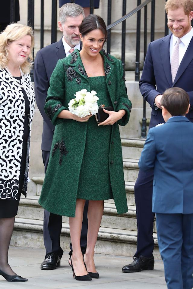 "<p>Meghan wore a gorgeous Erdem coat and matching dress with black embellishments and her <a rel=""nofollow"" href=""https://www.cosmopolitan.com/style-beauty/fashion/g22458461/meghan-markle-kate-middleton-favorite-fashion-brands/?slide=27"">go-to black Aquazzura heels</a> at a Commonwealth Day event on March 11. </p>"