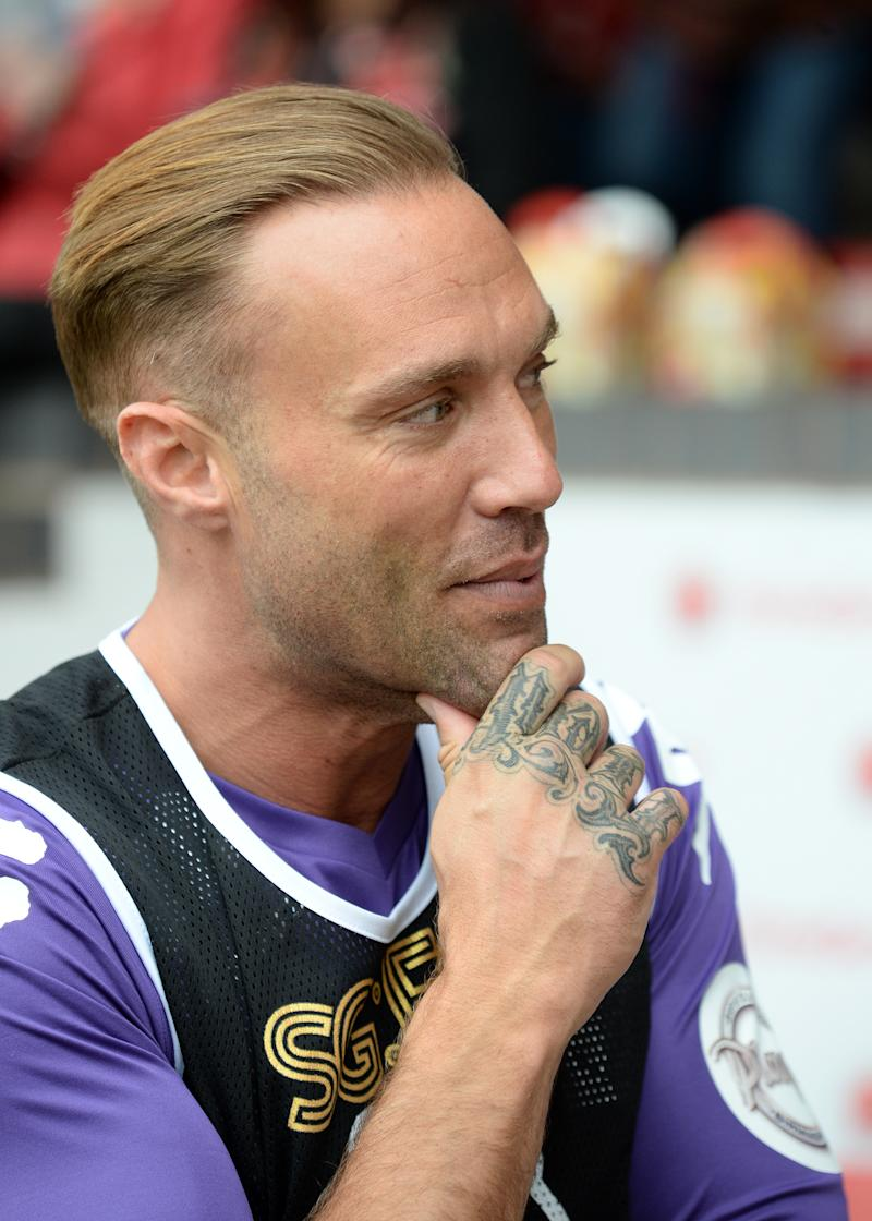 WALSALL, ENGLAND - MAY 13: Calum Best takes part in Sellebrity Soccer Match in aid of Smile For Joel and Compton Hospice at Banks' Stadium on May 13, 2017 in Walsall, England. (Photo by Eamonn M. McCormack/Getty Images)