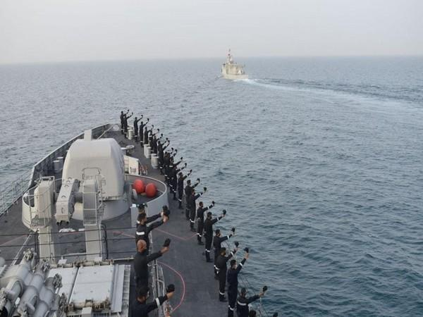 Indian Navy undertaking Passage Exercise (PASSEX) with Royal Bahrain Naval Force under Op Sankalp on Wednesday (Twitter)