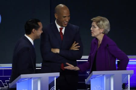 Candidates chat during a break at the first U.S. 2020 presidential election Democratic candidates debate in Miami, Florida, U.S.,