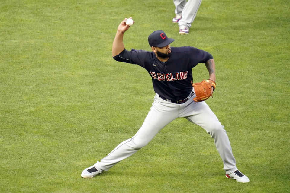 Cleveland Indians pitcher J.C. Mejia throws out Minnesota Twins' Max Kepler after fielding Kepler's short grounder in the fourth inning of a baseball game, Thursday, June 24, 2021, in Minneapolis (AP Photo/Jim Mone)