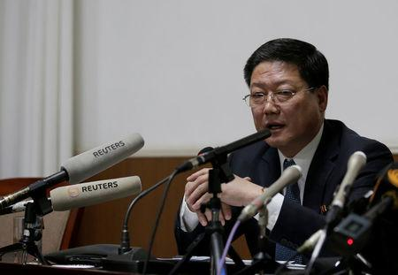 North Korean diplomat Pak Myong Ho attends a news conference in Beijing
