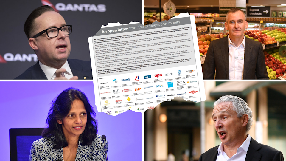 Image of Qantas, Woolworths, Macquarie, Telstra CEO with screenshot of open letter on top