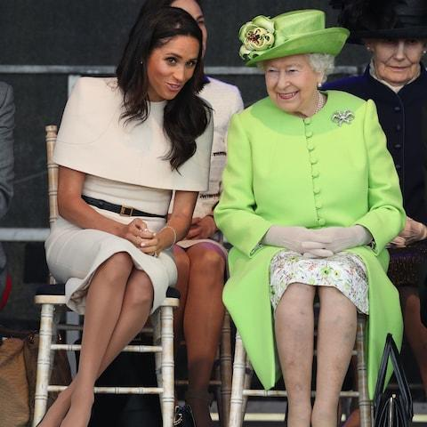 The Duchess sitting next to the Queen - Credit: PA