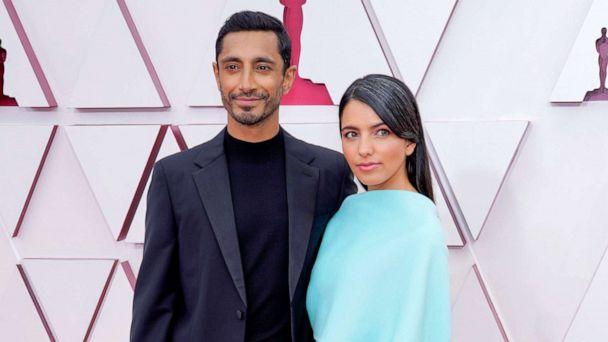 PHOTO: Riz Ahmed and Fatima Farheen Mirza arrive to the 93rd Academy Awards, at Union Station, in Los Angeles, April 25, 2021. (Pool/Getty Images)