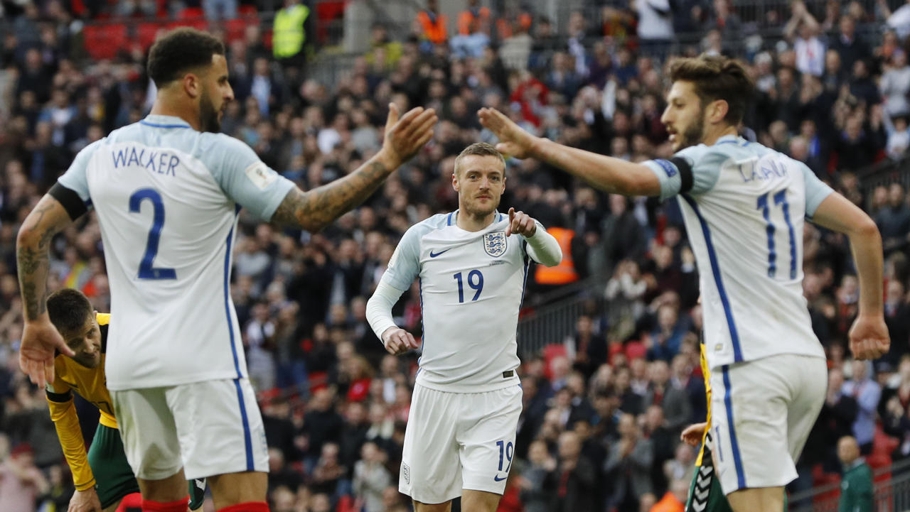 Britain Football Soccer - England v Lithuania - 2018 World Cup Qualifying European Zone - Group F - Wembley Stadium, London, England - 26/3/17 England's Jamie Vardy celebrates scoring their second goal with Kyle Walker and Adam Lallana  Reuters / Darren Staples Livepic EDITORIAL USE ONLY.