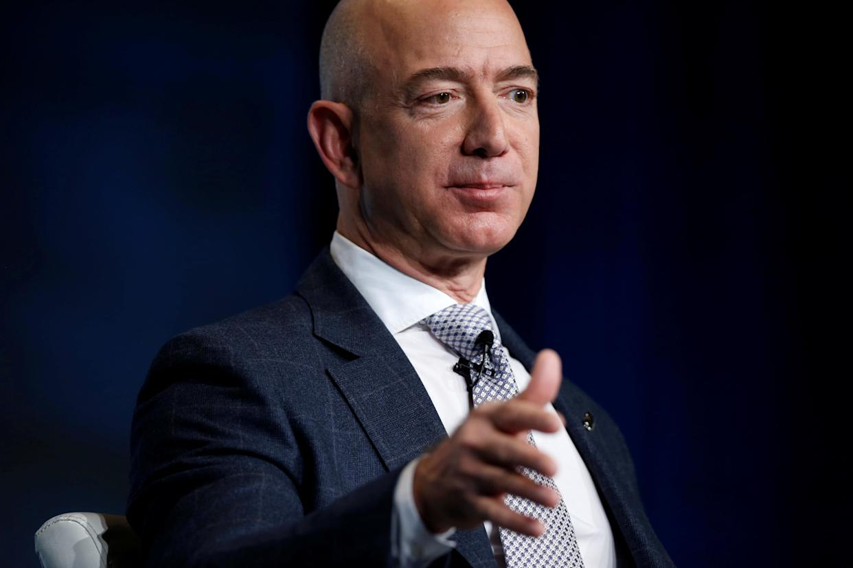 Jeff Bezos, founder of Blue Origin and CEO of Amazon, speaks about the future plans of Blue Origin during an address to attendees at Access Intelligence's SATELLITE 2017 conference in Washington, U.S., March 7, 2017. REUTERS/Joshua Roberts