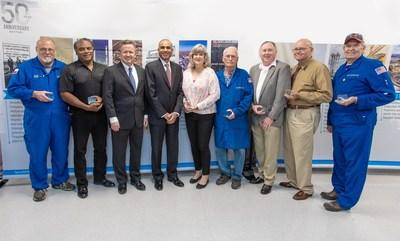 LyondellBasell celebrated its 50th anniversary today. CEO Bob Patel (4th from left) and Site Manager Stephen Goff (3rd from left) joined long-term employees who have been at the Bayport Complex for 40+ years.