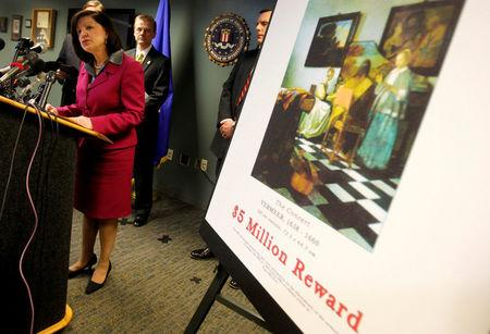 FILE PHOTO: United States Attorney Carmen Ortiz speaks during a press conference at the FBI's Boston Field Office held to appeal to the public for help in returning artwork stolen in 1990 from the Isabella Stewart Gardner Museum in Boston, Massachusetts, U.S. on March 18, 2013. REUTERS/Jessica Rinaldi/File Photo