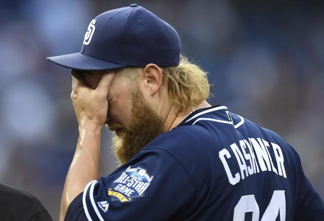 "<a class=""link rapid-noclick-resp"" href=""/mlb/players/8627/"" data-ylk=""slk:Andrew Cashner"">Andrew Cashner</a> is expected to be traded by the deadline. (The Canadian Press via AP)"