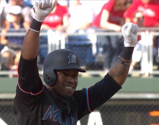 Marlins catcher Wilkin Castillo went 10 years and two days between MLB games. He returned with a game-winning hit. (MLB.TV)