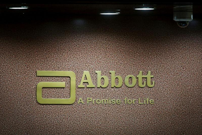 FILE PHOTO: An Abbott company logo at the reception of its office in Mumbai