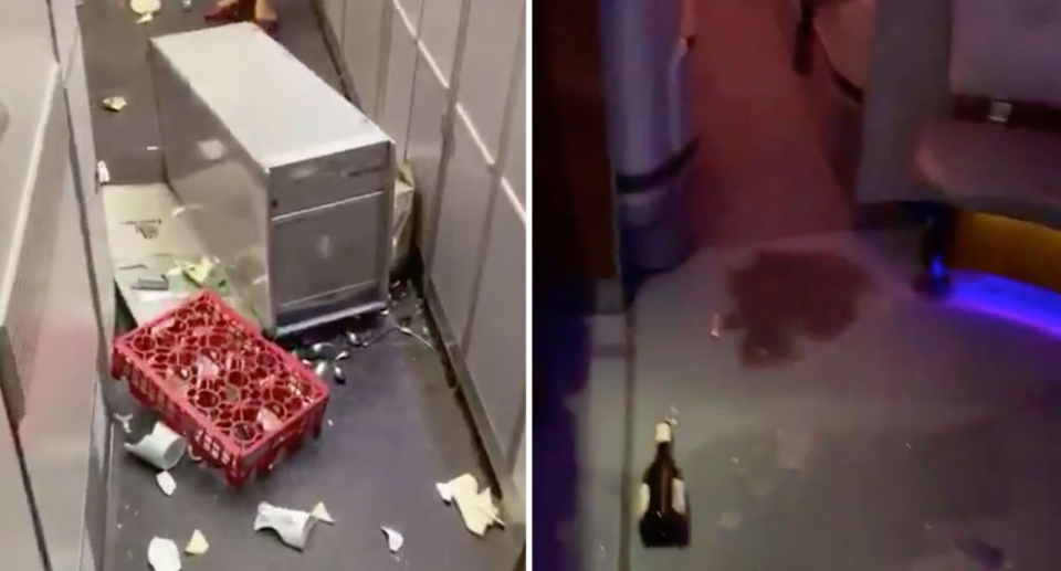 Photo of destruction left by extreme turbulence caused chaos on an Emirates flight from Auckland to Dubai.