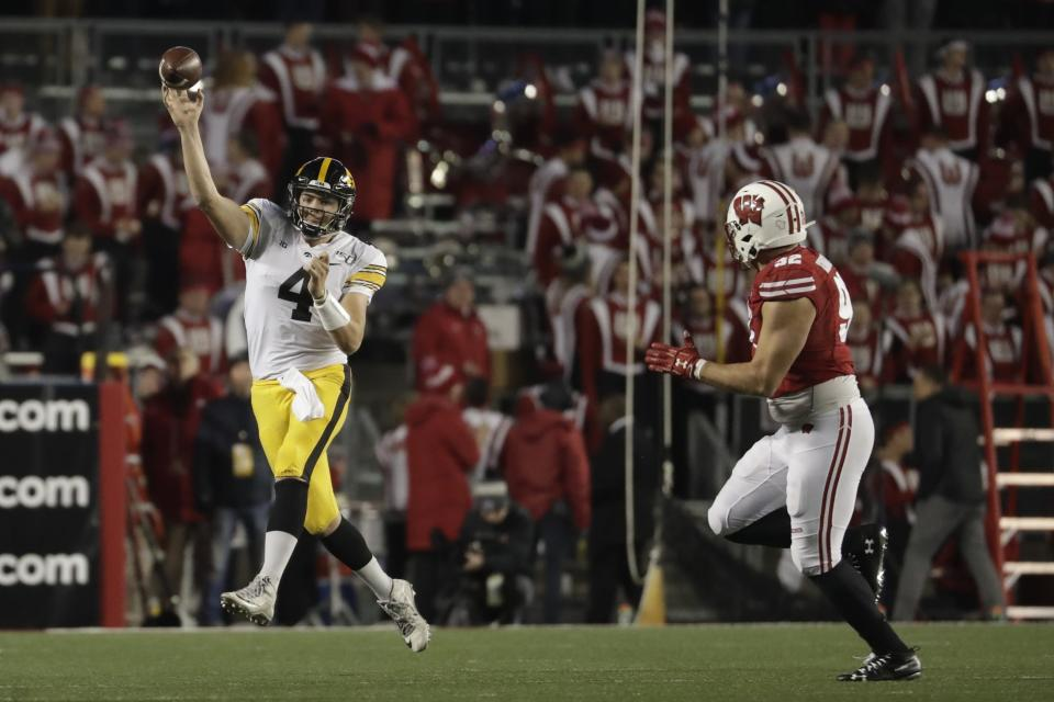 Iowa's Nate Stanley throws during the second half of an NCAA college football game against Wisconsin Saturday, Nov. 9, 2019, in Madison, Wis. Wisconsin won 24-22. (AP Photo/Morry Gash)