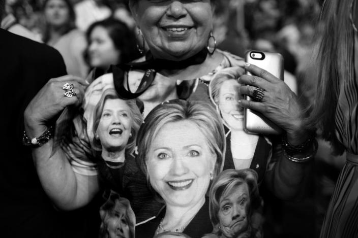 <p>Supporter of Hillary Clinton shows her shirt during the final day of the Democratic National Convention in Philadelphia, PA. on July 28, 2016. (Photo: Khue Bui for Yahoo News) </p>