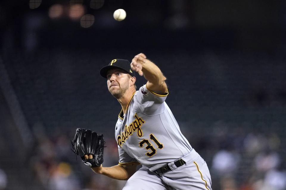 Pittsburgh Pirates starting pitcher Tyler Anderson throws to an Arizona Diamondbacks batter during the first inning of a baseball game Tuesday, July 20, 2021, in Phoenix. (AP Photo/Ross D. Franklin)