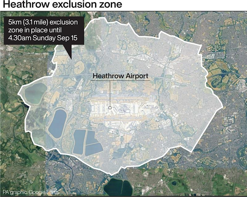 There is currently a three-mile exclusion zone around the airport. (PA)