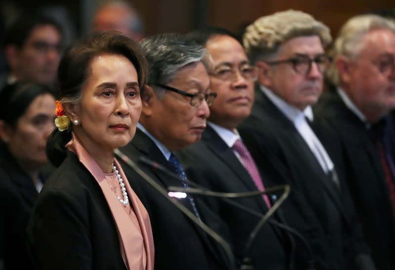 Myanmar's leader Aung San Suu Kyi attends a hearing at International Court of Justice in The Hague