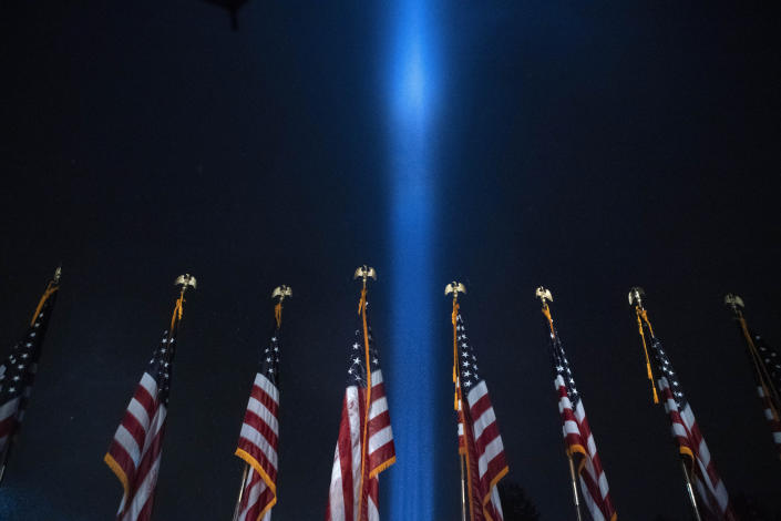 The Towers of Light tribute marking the 19th anniversary of the Sept. 11 attacks. (Jose Luis Magana/AP)