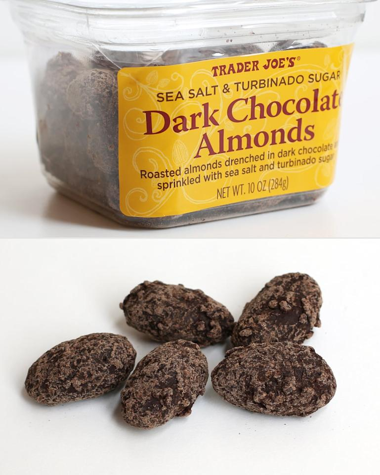 """<p>These are so different from any other chocolate-covered almond I've had because of the sprinkle of coarse sea salt and turbinado sugar. Biting into the thick chocolate coating before crunching into the roasted almonds is so satisfying, and these are rich enough that the container lasts me a while. </p> <p align=""""right""""><em>- Erin Cullum</em></p>"""