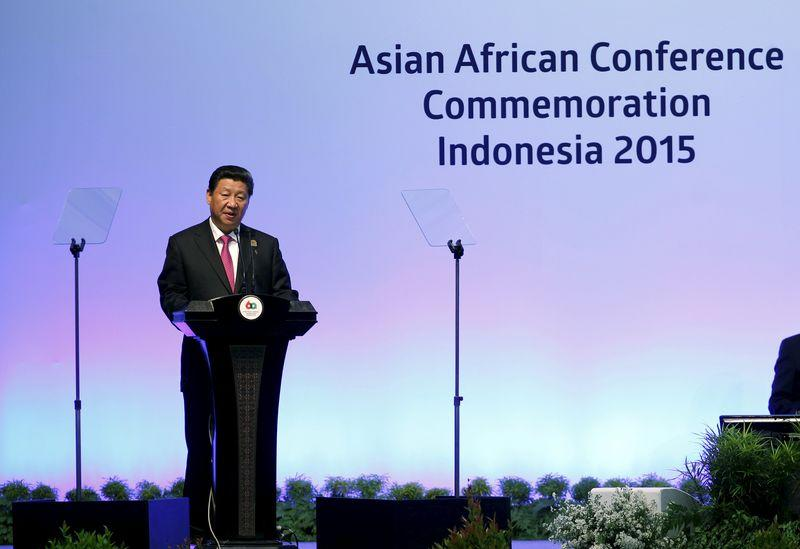 China's President Xi Jinping delivers a speech at a plenary session during the Asian-African Conference in Jakarta