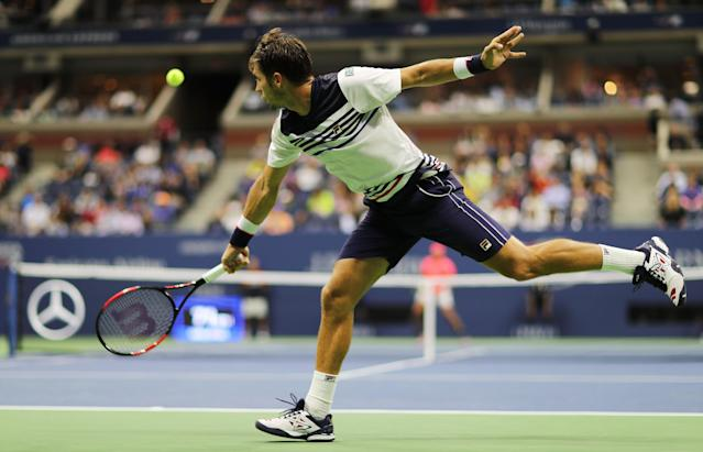 <p>Dusan Lajovic of Serbia & Montenegro returns a shot against Rafael Nadal of Spain in their Men's Singles first round on Day Two of the 2017 US Open at the USTA Billie Jean King National Tennis Center on August 29, 2017 in the Flushing neighborhood of the Queens borough of New York City. (Photo by Elsa/Getty Images) </p>