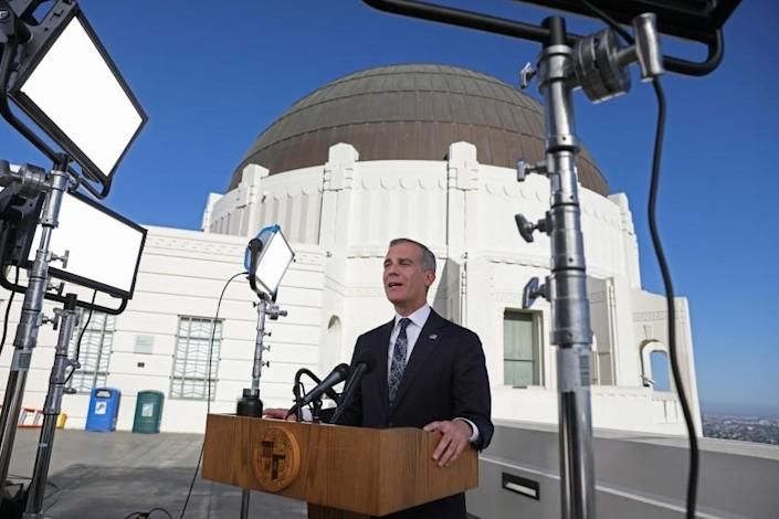 LOS ANGELES, CA - APRIL 19: Los Angeles Mayor Eric Garcetti holds his annual State of the City address from the Griffith Observatory Monday, April 19, 2021 in Los Angeles, CA. (Gary Coronado / Los Angeles Times)