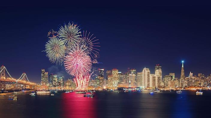 Fireworks go off in San Francisco in this file photo.