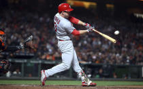 St. Louis Cardinals' Jedd Gyorko connects for a two-run double off San Francisco Giants' Ty Blach during the sixth inning of a baseball game Thursday, July 5, 2018, in San Francisco. (AP Photo/Ben Margot)