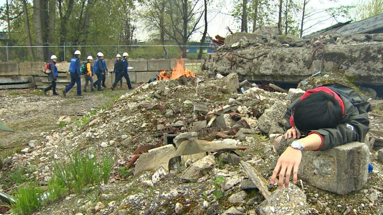 'As realistic as it can get': Mock disaster zone trains volunteers for the 'Big One' in B.C.