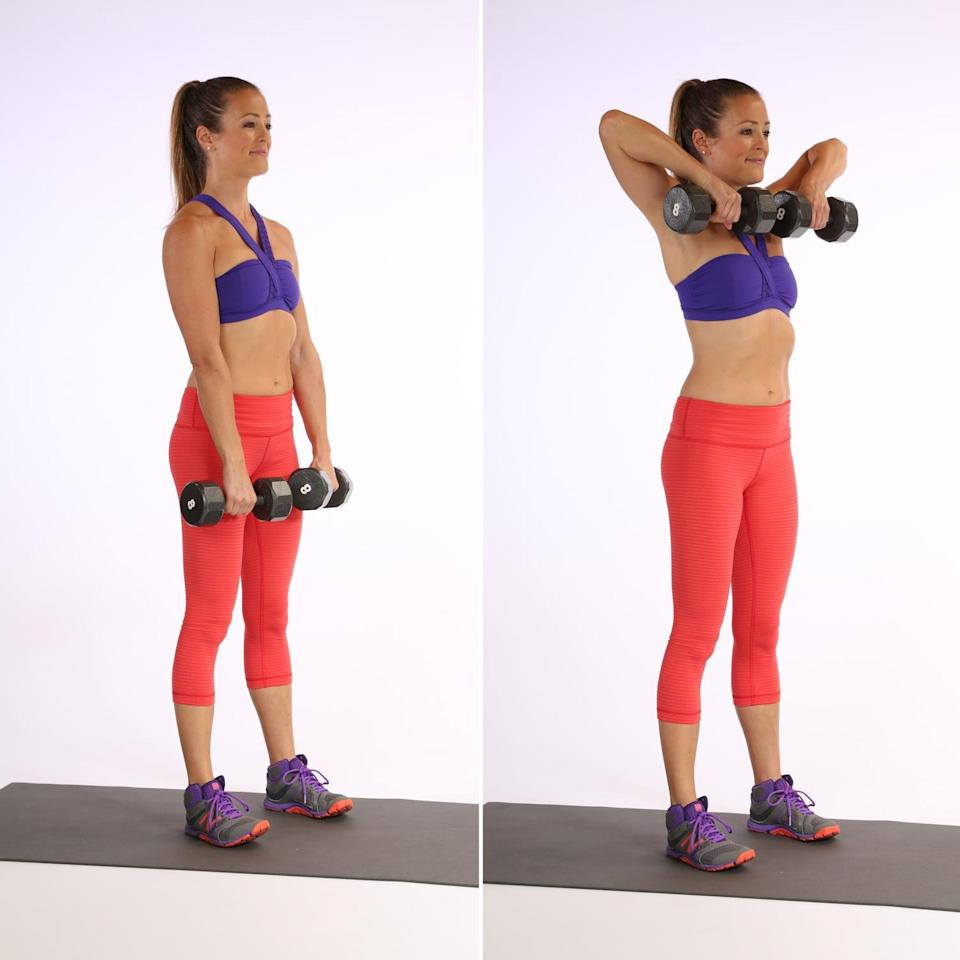 <ul> <li>Stand with your feet hip-distance apart, and place a dumbbell in each hand. Your closed palms should be facing your body. Your shoulders should be over your pelvis, with knees slightly bent.</li> <li>Keeping the dumbbells close to your body, raise them to your shoulders, bending your elbows out to the sides.</li> <li>Slowly lower them to the starting position. This counts as one rep.</li> </ul>