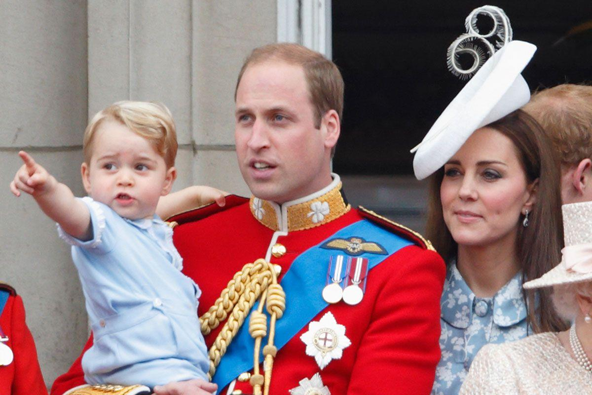 <p>Prince George fulfilled the royal rite of passage at the Queen's official birthday parade in June 2015, just before his second birthday. The flypast proved to be a good distraction from the thousands of well-wishers watching from below.</p>