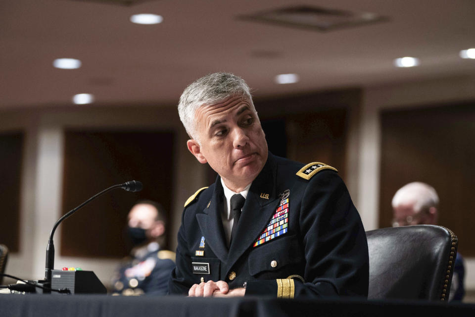 U.S. Cyber Command Commander, National Security Agency Director and Central Security Service Chief Gen. Paul Nakasone listens during a hearing to examine United States Special Operations Command and United States Cyber Command in review of the Defense Authorization Request for fiscal year 2022 and the Future Years Defense Program, on Capitol Hill, Thursday, March 25, 2021, in Washington. (Anna Moneymaker/The New York Times via AP, Pool)