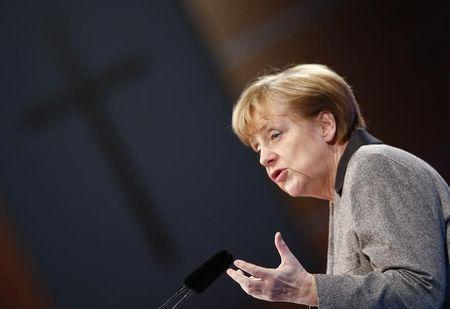 German Chancellor Merkel addresses the CSU party congress in Nueremberg