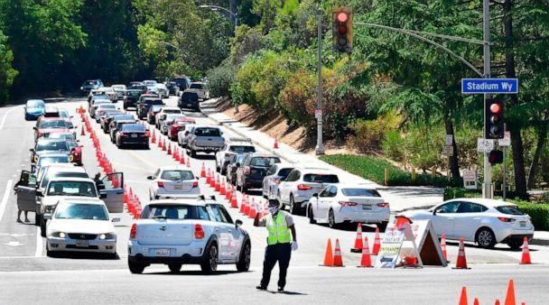 PHOTO: Traffic is directed at Dodger Stadium as people arrive for COVID-19 testing on June 30, 2020, in Los Angeles. (Frederic J. Brown/AFP via Getty Images)