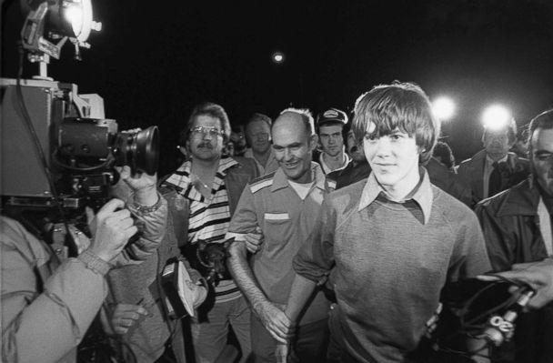 PHOTO: Surrounded by TV cameras, Steven Stayner, right foreground, and and his brother Delbert Stayner are shown walking toward their Merced County, Calif., home, March 2, 1980, as Steven was reunited with his family following a 7-year kidnap ordeal. (Ted Benson/The Modesto Bee/AP)