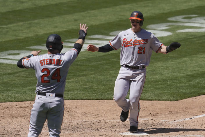 Baltimore Orioles' DJ Stewart (24) and Austin Hays (21) celebrate after both scored on a two-run single by Trey Mancini during the fifth inning of a baseball game against the Oakland Athletics in Oakland, Calif., Sunday, May 2, 2021. (AP Photo/Jeff Chiu)
