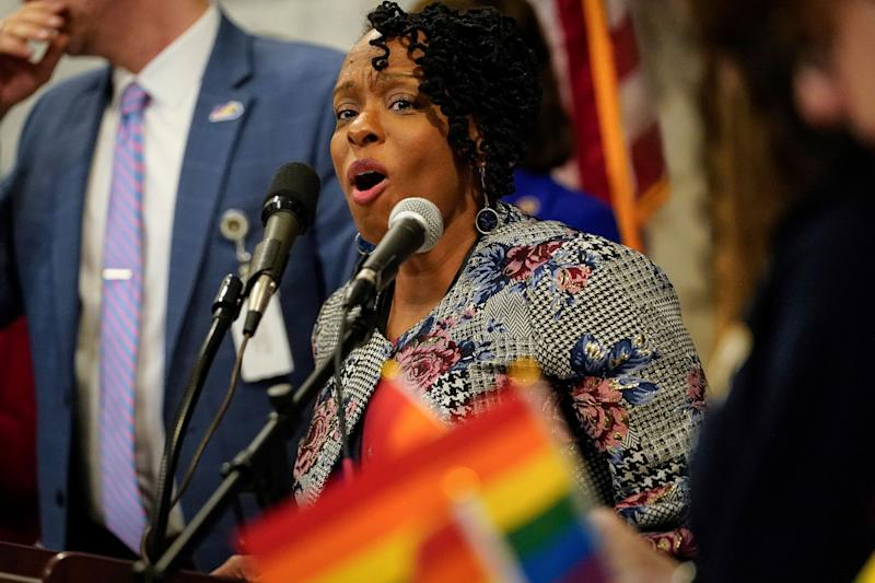 Kentucky Democratic Rep. Attica Scott, seen here at a February rally to advance LGTBQ rights held at the state Capitol in Frankfort, faces charges of first-degree rioting, failure to disperse and unlawful assembly stemming from protests Thursday night in Louisville. (Photo: ASSOCIATED PRESS)