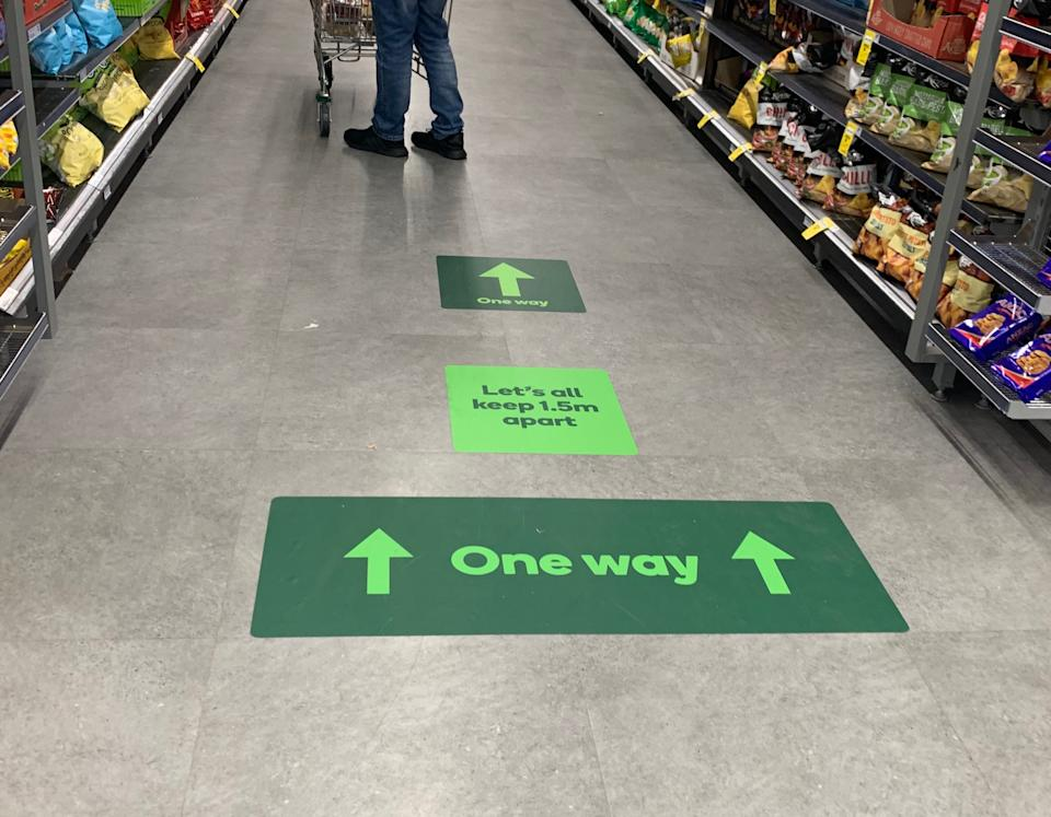 The markings request customers to travel one-way up each aisle. Source: Supplied