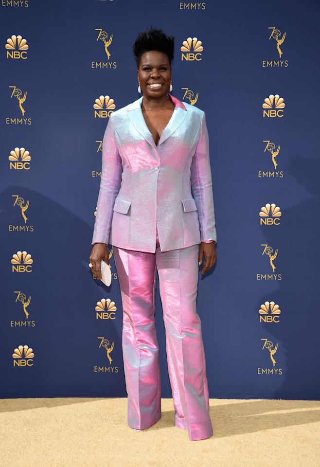 Leslie Jones in Christian Siriano and with Jordan Alexander jewelry