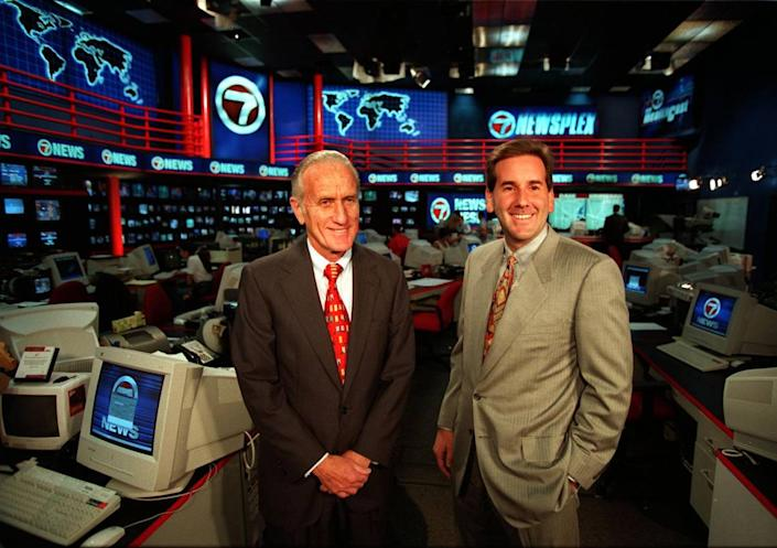 11/2/98 Al Diaz/Herald staff--Ed Ansin and son James at the Channel 7 studio.
