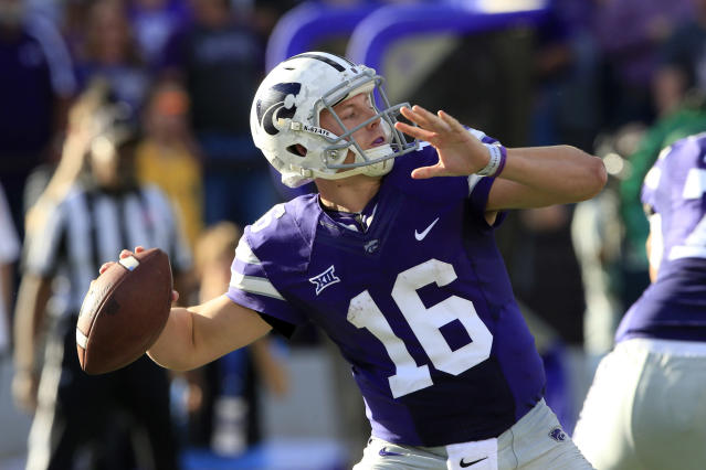 <p>On the rise: Jesse Ertz, Kansas State — Ertz's passing stats should make a big leap in 2017 with a healthy throwing shoulder. Kansas State's offense will never be mistaken for Texas Tech's, but Ertz is one of the few quarterbacks in the country who could throw for over 2,000 yards and run for over 1,000 yards in 2017. </p>