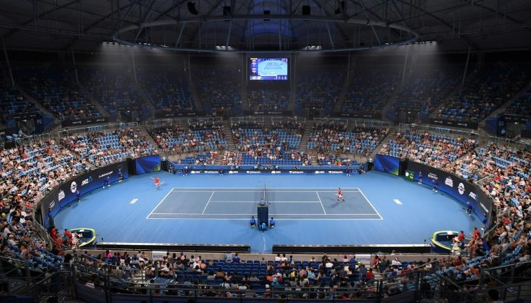 Haze could be seen in the arena for the ATP Cup tennis tournament in Sydney earlier this week (AFP Photo/William WEST)