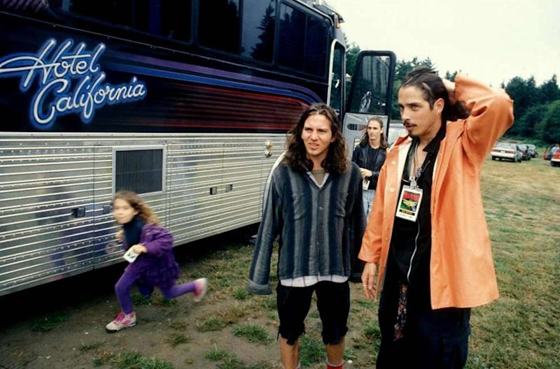 """Eddie Vedder and Chris Cornell backstage at Lollapalooza in Seattle, Washington, 1992. Photographed by Lance Mercer and featured in the exhibition """"Grunge: Rise of a Generation,"""" curated by Marcelle Murdock and Casey Fannin-Kaplan. On view at Morrison Hotel Gallery in New York, Maui, and Los Angeles from March 8 through 31, 2019."""