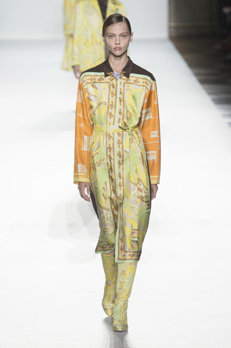 <p><i>Scarf print shirt dress from the SS18 Dries Van Noten collection. (Photo: ImaxTree) </i></p>