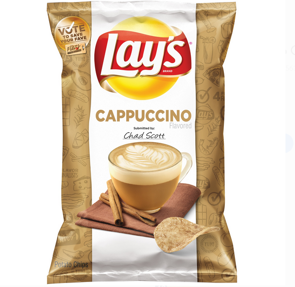 """<p>Don't talk to me until I've had my cappuccino-flavored chips. Part of Lay's """"Do Us A Flavor"""" contest where the chipmaker lets snackers choose between three fan-submitted flavors, this java-inspired flavor was <a href=""""https://sprudge.com/barista-behind-cappuccino-bag-lays-cappuccino-flavored-fried-potato-snack-61126.html"""" rel=""""nofollow noopener"""" target=""""_blank"""" data-ylk=""""slk:not a hit"""" class=""""link rapid-noclick-resp"""">not a hit</a> with caffeine <em>or</em> potato lovers.</p>"""