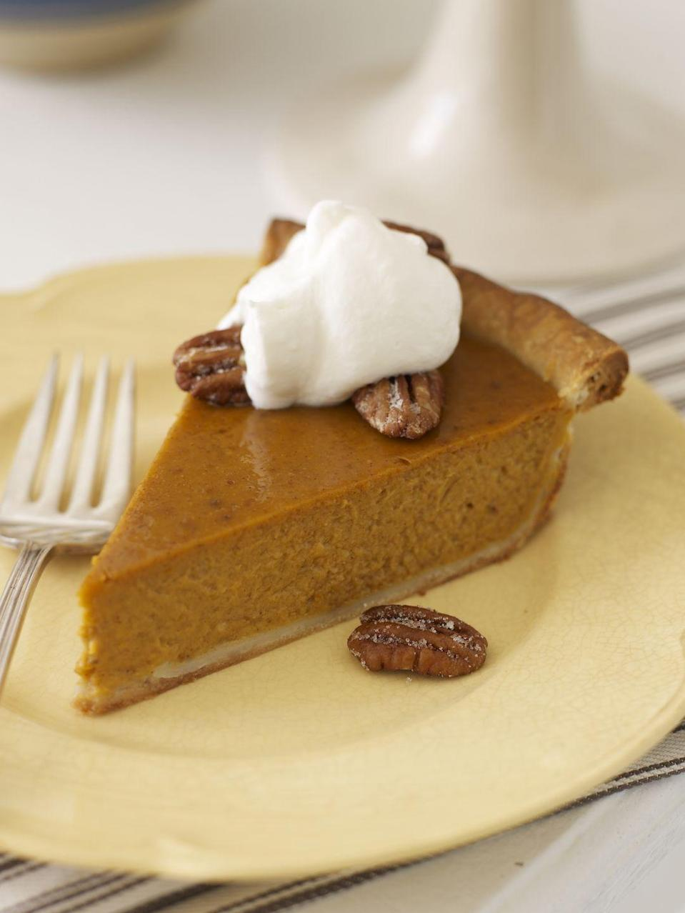 "<p>No Turkey Day feast is complete without this classic. Give this quickie recipe — complete with a dollop of creamy, spiked whipped cream — a try.</p><p><a href=""https://www.goodhousekeeping.com/food-recipes/a8361/pumpkin-pie-bourbon-whipped-cream-ghk1107/"" rel=""nofollow noopener"" target=""_blank"" data-ylk=""slk:Get the recipe for Pumpkin Pie with Bourbon Whipped Cream »"" class=""link rapid-noclick-resp""><em>Get the recipe for Pumpkin Pie with Bourbon Whipped Cream »</em></a></p>"