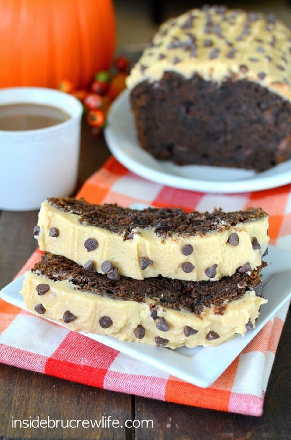 """<p>Chocolate chips, chocolate chunks, <em>and </em>caramel frosting? It doesn't get much sweeter than this.</p><p><strong>Get the recipe at <a href=""""https://insidebrucrewlife.com/caramel-chocolate-chunk-pumpkin-bread/"""" rel=""""nofollow noopener"""" target=""""_blank"""" data-ylk=""""slk:Inside BruCrew Life"""" class=""""link rapid-noclick-resp"""">Inside BruCrew Life</a>.</strong></p>"""