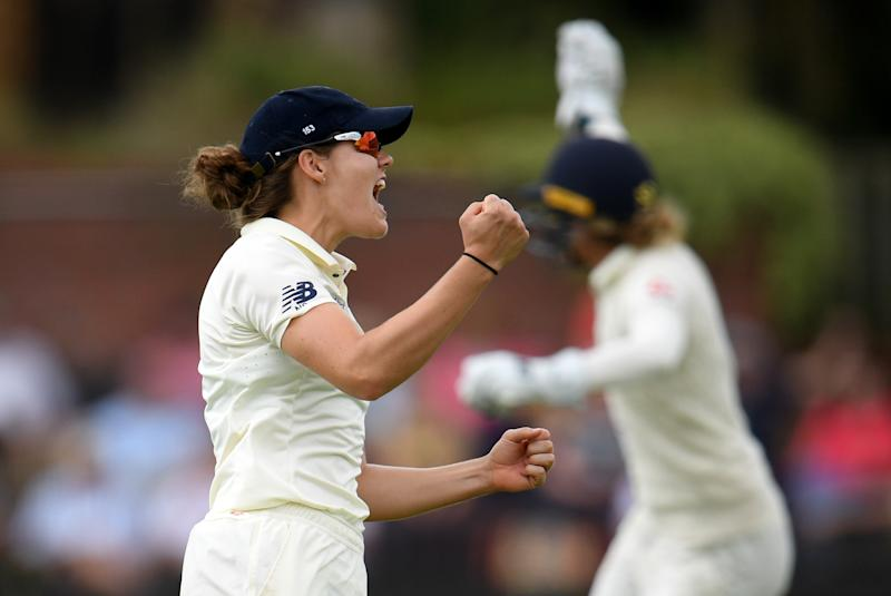 Nat Sciver celebrates dismissing Jess Jonassen of Australia last summerGetty